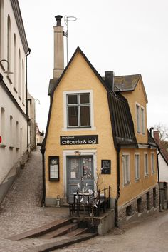 Baltic Sea / Gotland Island / City of Visby / Sweden -  narrow cobbled streets and a cool looking wedge-shaped building.