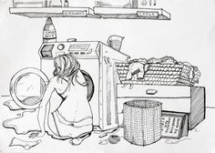 How do girls fix a washing machine?