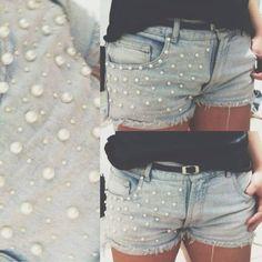Short Jeans com Pérolas