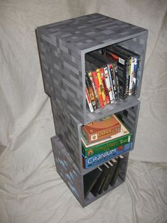 minecraft-inspired shelves. I want! But I want butter ones. (Butter means gold.)