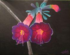 Cantuta Flower acrylic paint. Peruvian flowers. Flores del Peru.