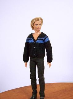 Black and blue striped cardigan sweater for Ken