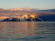 glacial mountains at sunset, Antarctica