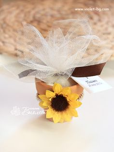 Sunflower Handmade Wedding Favor, Sunflower Bombonniere in a pot