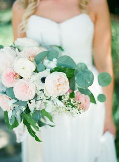 Garden roses, anemone, and eucalyptus: http://www.stylemepretty.com/2015/06/29/romantic-san-ysidro-ranch-summer-wedding/ | Photography: Diana McGregor - http://www.dianamcgregor.com/