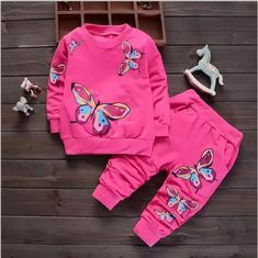 Baby Girl Cute Butterfly Fashion Clothes Suit Kids Sport T-shirt Pants Outfits Baby Boy Clothes Online, Baby & Toddler Clothing, Baby Girl Fashion, Toddler Fashion, Toddler Girl Outfits, Kids Outfits, Toddler Girls, Baby Girls, Tracksuit Set