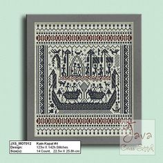 Kain Kapal 4 Ship Cloth Traditional Lampung Motif  PDF Cross stitch pattern #shipcloth #kristikuntukindonesia #crossstitch4indonesia #kainkapal #lampung #tapis #tenuntapis