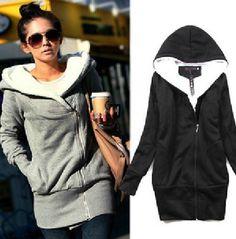 Korea Women Hoodies Coat Warm Zip Up Outerwear Sweatshirts 2 Colors on Wanelo