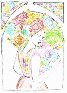 Dibujo símbolos mexicas, mayas, vestido zapoteco para el artículo: Igualdad lingüística y justicia social.