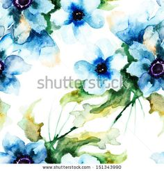 Seamless wallpaper with Summer blue flowers, watercolor illustration  - stock photo