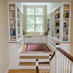 home library with window seat - this is our landing with double doors instead of windows. Love this cozy nook Style At Home, Sweet Home, Cozy Nook, Cozy Corner, Tv Nook, Home Libraries, Home And Deco, Built Ins, Old Houses