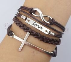 Infinity, Love & Cross Bracelet--Antique Silver Bracelet--Wax Cords and Imitation Leather Bracelet--Best Chosen Gift-- Personalized Bacelet. $5.99, via Etsy.