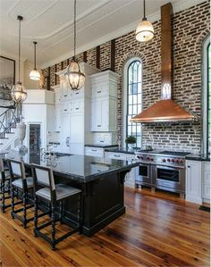 Exposed Brick Kitchen....total perfection.....wow.
