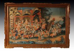 China, Pair Of Reverse Glass Paintings,  Circa 1840-1860.   From a unique collection of antique and modern paintings and screens at http://www.1stdibs.com/furniture/asian-art-furniture/paintings-screens/