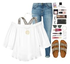 """""""summer strolls"""" by lydia-hh ❤ liked on Polyvore featuring Current/Elliott, Aerie, Rebecca Taylor, American Eagle Outfitters, Too Faced Cosmetics, Marc Jacobs, Charlotte Tilbury, Kendra Scott, Victoria's Secret and Ray-Ban"""