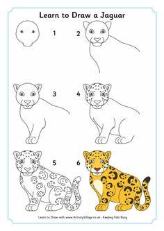 Learn to draw a jaguar cheetah drawing, cute drawings, easy drawings for kids, Cheetah Drawing, Panda Drawing, Zoo Animals, Animals For Kids, Cute Animals, Draw Animals, Easy Drawings For Kids, Drawing For Kids, Cute Animal Drawings