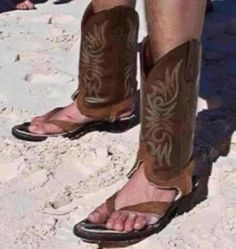 men's cowboy boot flip-flops someone should make these for the annual beach party!