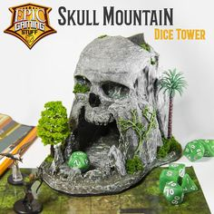 Skull Mountain Dice Tower with Dice Tray Catch