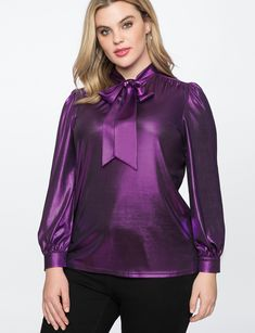 View our Metallic Bow Blouse and shop our selection of designer women's plus size Tops, clothing and fashionable accessories. Girls Blouse, Sexy Blouse, Bow Blouse, Blouse And Skirt, Purple Blouse, Casual Skirt Outfits, Pretty Outfits, Plus Size Blouses, Plus Size Tops
