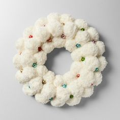Wreath Pom Pom with Glass Ball - Opalhouse™ - image 1 of 2 Christmas Balls, Christmas Wreaths, Christmas Crafts, Christmas Decorations, Christmas Ornaments, Xmas, Christmas Ideas, Crafts For Teens To Make, Diy And Crafts