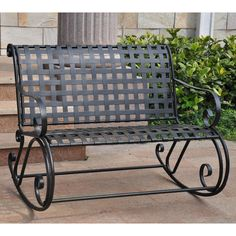 This elegant lattice iron garden bench will add beauty and a comfortable sitting area to your garden, patio, or backyard. The double rocker is made of sturdy iron and measures a generous 38 inches high x 44 inches wide x 40 inches deep.