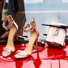 Get the Glamorous look with pink satin high heeled sandals with rhinestones ► and pink satin bag ► Shop links for Cyprus ► and ► Pink High Heels, Retro Summer, Heeled Sandals, Pink Satin, Cyprus, Rhinestones, Campaign, Loafers, Glamour