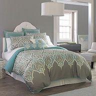 gray and aqua bedroom