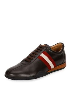 BALLY Men'S Frenz Leather Low-Top Sneaker, Brown. #bally #shoes #