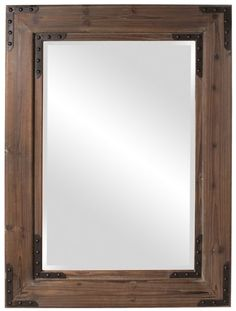 "Caldwell Natural Wood Rustic Mirror Large 34""x47""x2"""