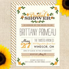 Fall Whimsy Bridal Shower Invitation DIY PRINTABLE. $20.00, via Etsy.