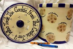Cookie jar and platter for kindergarten class auction.  A cookie for each child.