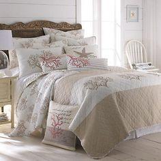 Beach Theme Bedding, Coral Bedding Sets, Coastal Bedding, Coastal Bedrooms, Luxury Bedding, Nautical Bedding, Bedroom Themes, Bedroom Decor, Beach Cottages
