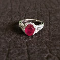 Natural Oval Ruby 14k Solid White Gold with by FireandBrilliance, $1165.00