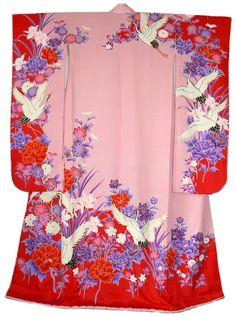 Japanese Kimono Crane & Flower Themed ...[]... Fabric