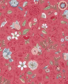 New Spring to Life Red Pink Pip Studio Wallpaper is now available at Bell and Blue. All wallpaper can be ordered from Bell and Blue. Free UK delivery on all wallpaper orders. Eclectic Wallpaper, Plant Wallpaper, Bird Wallpaper, Wallpaper Online, Home Wallpaper, Pattern Wallpaper, Wallpaper Backgrounds, Floral Wallpapers, Brewster Wallpaper