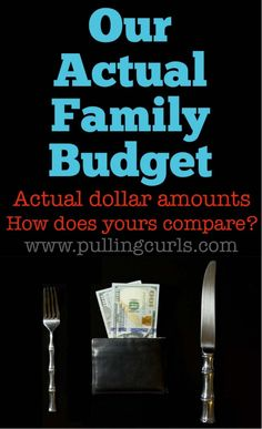 Our actual family budget, with the actual dollar amounts for each area -- groceries, clothes, utilites, etc. #pullingcurls