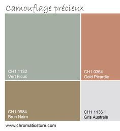 Végétale et organique, cette palette s'adapte à tous les environnements. www.chromaticstore.com #deco #couleur2016 #peinture House Color Schemes, House Colors, Exterior Design, Interior And Exterior, Wall Colors, Colours, Decorating With Pictures, Decoration Pictures, Hotel Concept