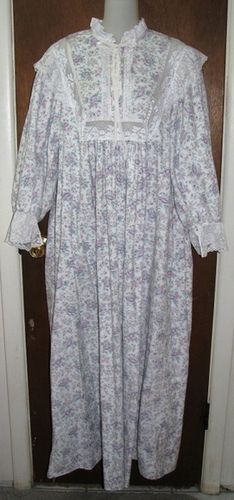 cc1efffc9e Priamo Floral Flannel   Lace Ruffled Nightgown Full Length Front by  mondas66