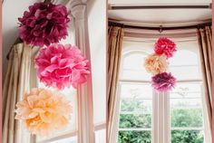 Top 5 DIY Tissue Paper Pom Poms | DIY Creative Ideas. Love the pops of color! Will make these at the next baby shower, birthday party! :-D