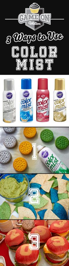 Check out these cool ways to use Wilton Color Mist Food Color Spray to make fun game day snacks that shows your favorite team's colors! Great for making snacks to bring to pep rallies, tailgate and football parties.