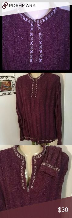 WOOLRICH PURPLE & GRAY WOOL BLEND SWEATER Excellent Condition Design as Shown Cabled Design on hem Sleeves & Collar warm !! 15% WOOL CALLED : WINEBERRY HEATHER BY WOOLRICH Zippered V neck Sweaters V-Necks