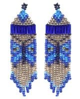 Blue Leaf Butterfly Fringe Earring : Beading Patterns and kits by Dragon!, The art of beading.