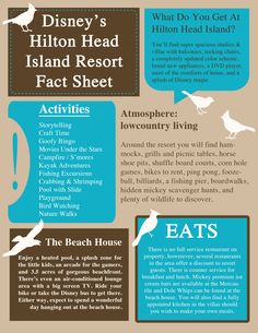 Disney's Hilton Head Island Resort Fact Sheet from Merryweather's Cottage