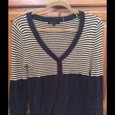 BCBG striped Henley sweater Navy and white striped Henley style light weight sweater BCBGMaxAzria Sweaters Crew & Scoop Necks