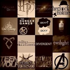 harry potter, mortal instruments, percy jackson, teen wolf, tfios, the fault in our stars, the hunger games, the vampire diaries, twilight, divergente, the advengers