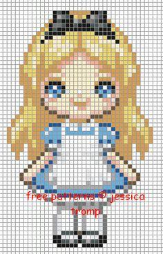 Alice in Wonderland hama perler bead pattern