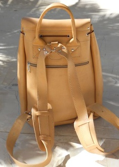 Natural Leather Backpack  These days.. I want this style.