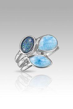 MarahLago Arbol Collection Larimar Ring with Australian Opal - Larimarket #opalsaustralia