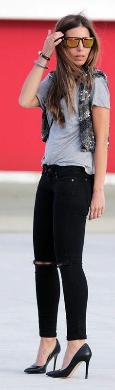 Zara Grey Sequin Embellished Crop Bolero Vest by Essentialnice