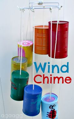 Can Wind Chimes. Made using Apple Barrel craft paint. summer crafts for kids. Crafts To Do, Crafts For Kids, Kids Diy, Soup Can Crafts, Wind Chimes Kids, Outdoor Classroom, Classroom Decor, Crafty Kids, Camping Crafts